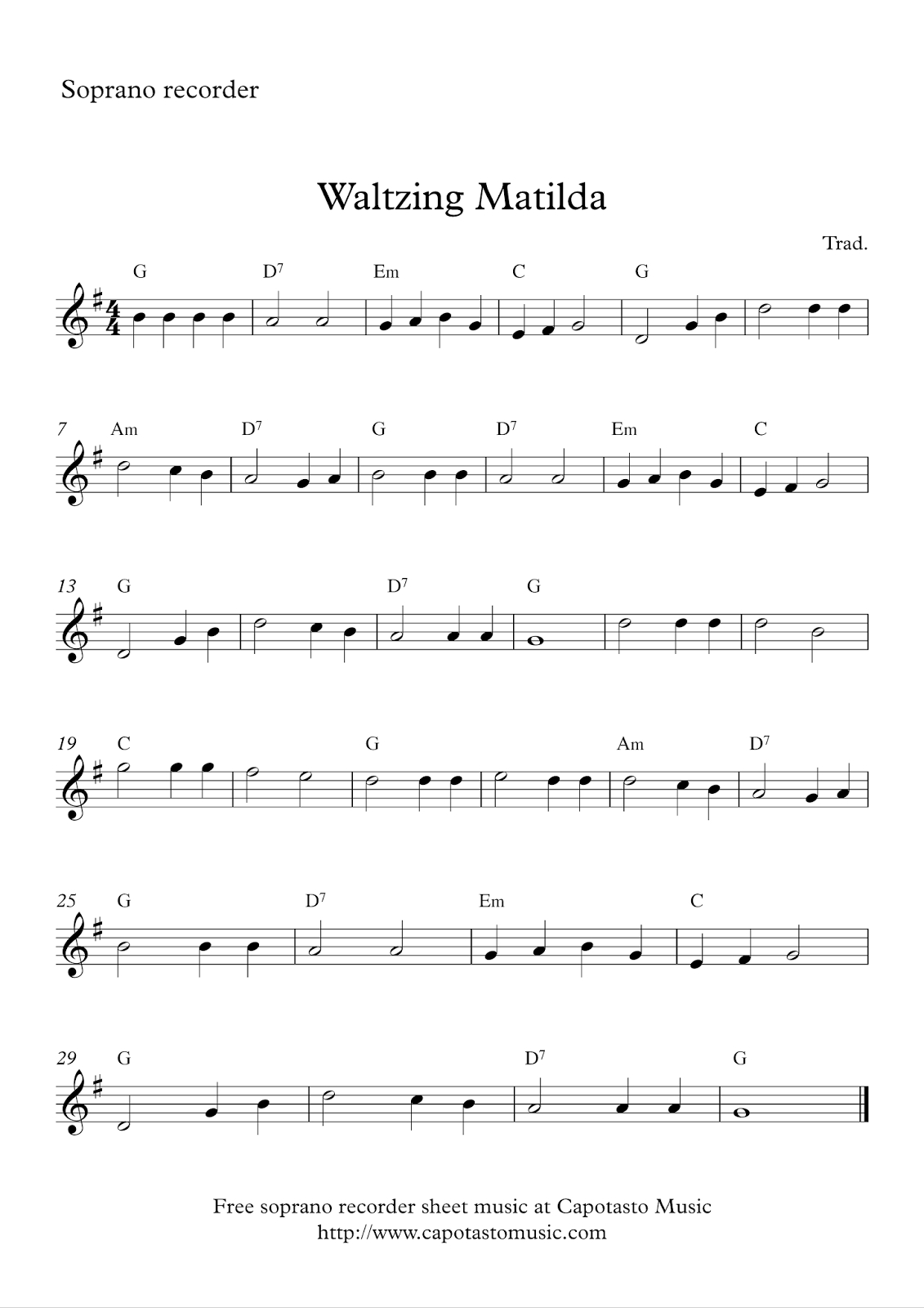 Free Easy Soprano Recorder Sheet Music, Waltzing Matilda - Free Printable Recorder Sheet Music For Beginners
