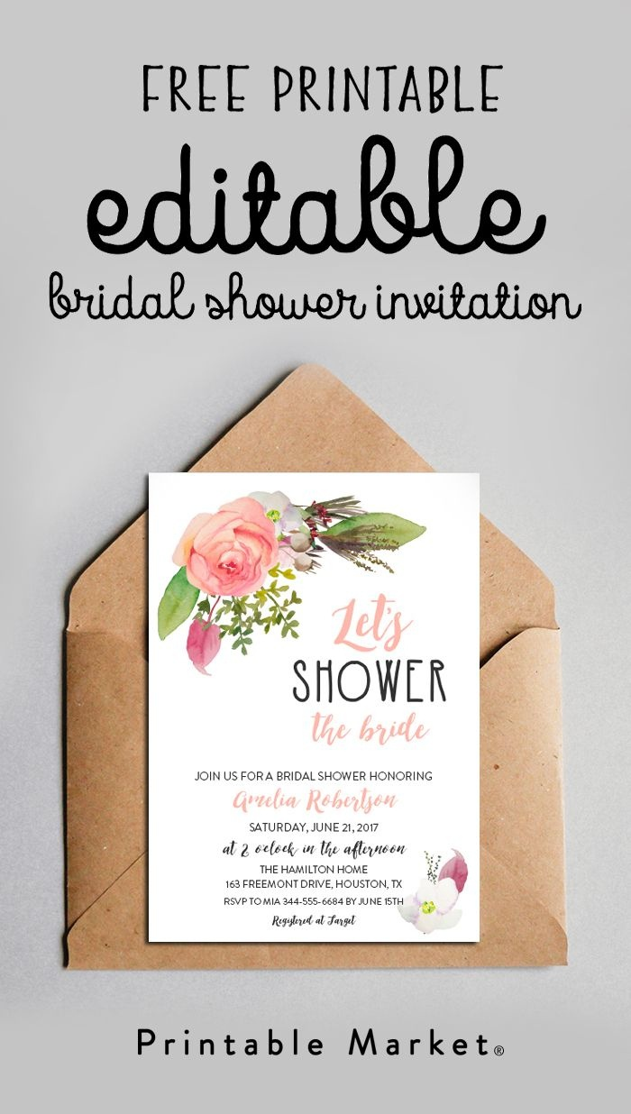 Free Editable Bridal Shower Invitation Watercolor Flowers Pdf - Free Printable Bridal Shower Invitations