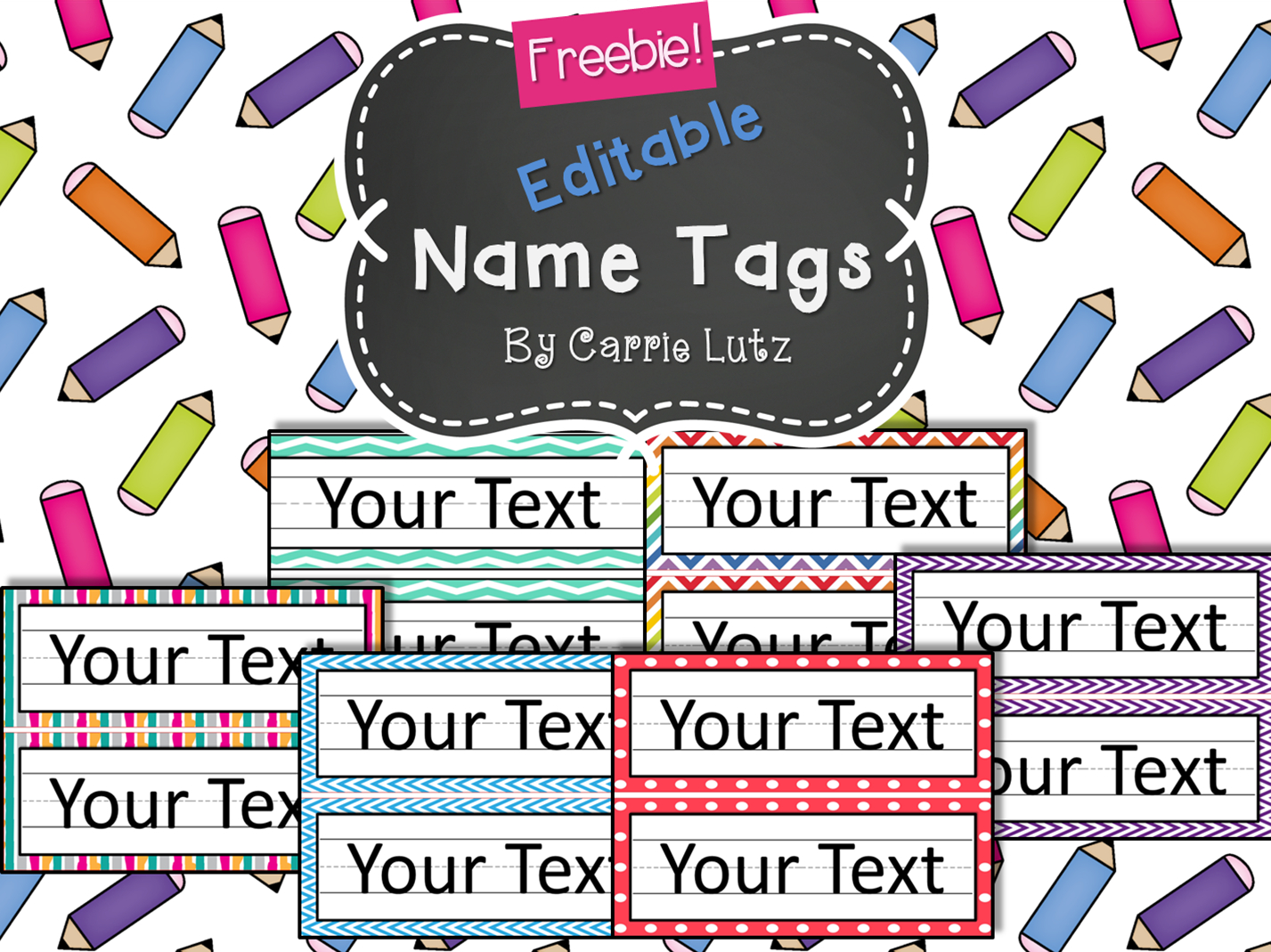 Free Editable!! Chevron, Dots Or Rainbow.simple Name Tags Type In - Free Customized Name Tags Printable
