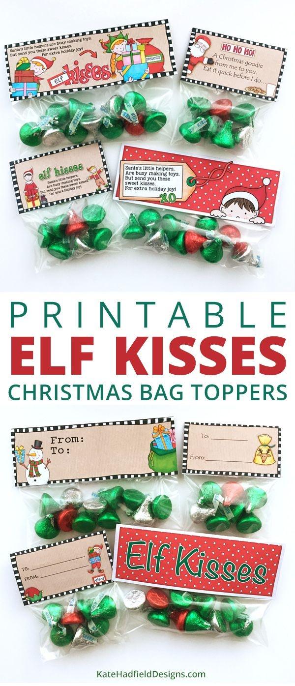 Free Elf Kisses Bag Toppers | Christmas Theme | Christmas Treat Bags - Free Printable Christmas Bag Toppers