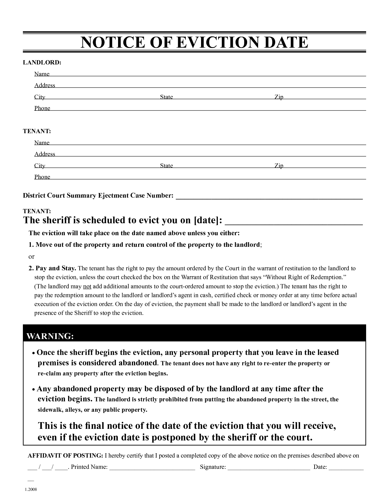 Free Eviction Notice Template   Printable Eviction Notice   Leaave - Free Printable Eviction Notice