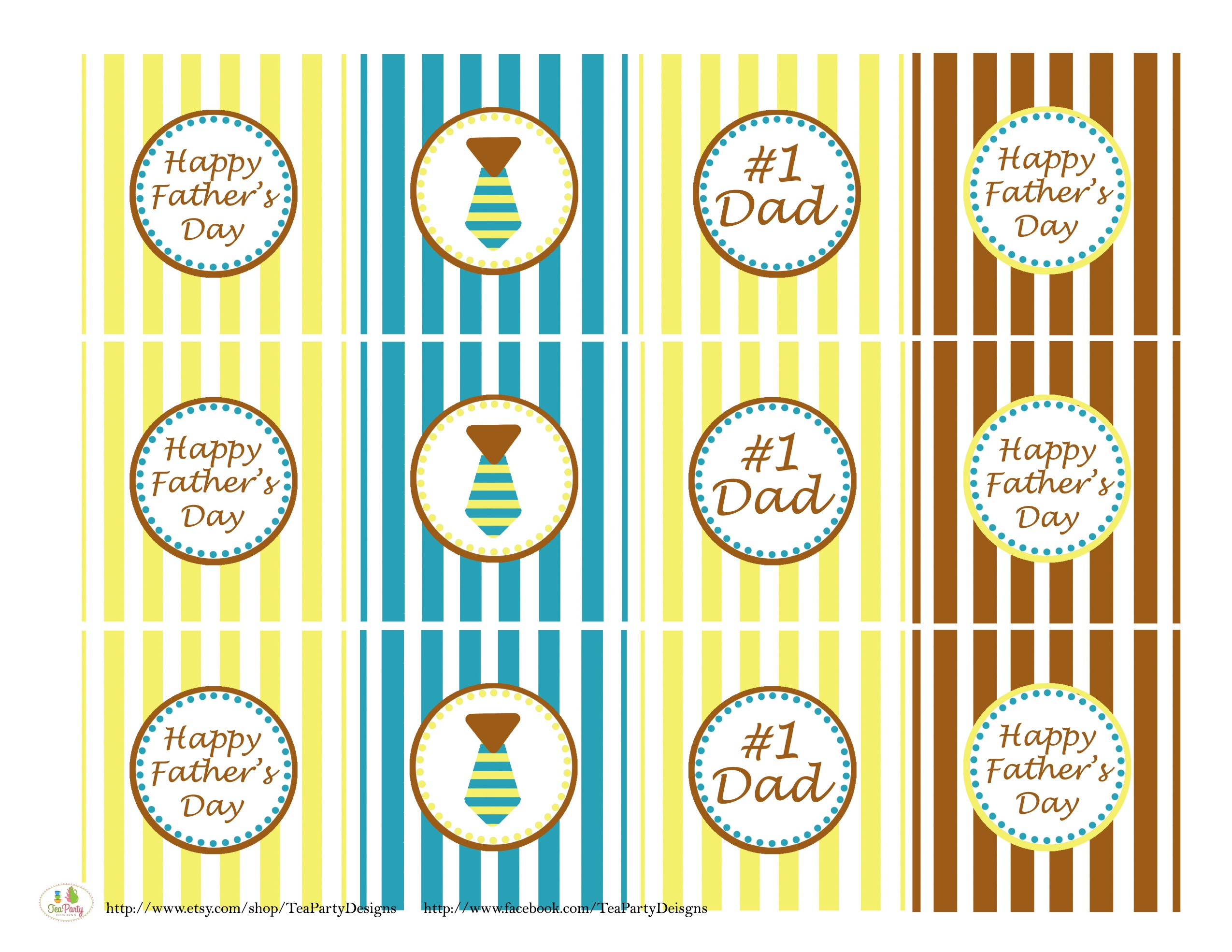 Free Father's Day Printables From Tea Party Designs | Catch My Party - Free Printable Party Circles