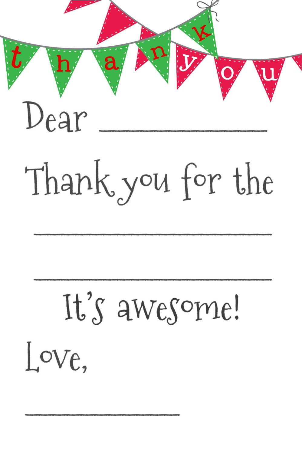 Free Fill-In-The-Blank Thank-You Cards | Printables | Free Thank You - Fill In The Blank Thank You Cards Printable Free
