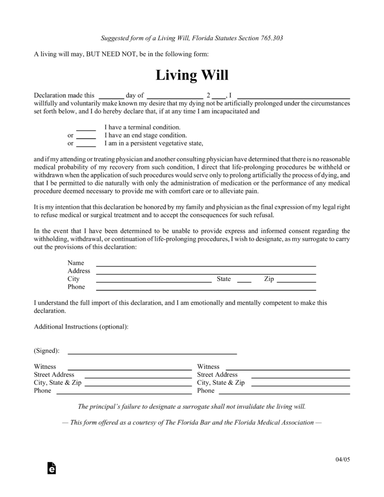 Free Florida Living Will Form - Pdf   Eforms – Free Fillable Forms - Free Printable Last Will And Testament Blank Forms Florida
