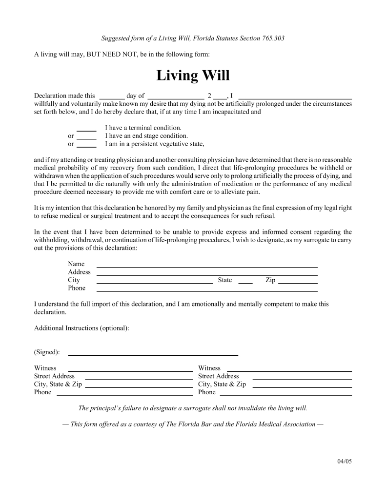 Free Florida Living Will Form - Pdf | Eforms – Free Fillable Forms - Living Will Forms Free Printable
