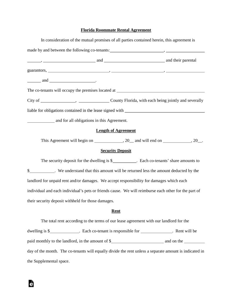 Free Florida Roommate (Room Rental) Agreement Template - Pdf | Word - Free Printable Roommate Rental Agreement