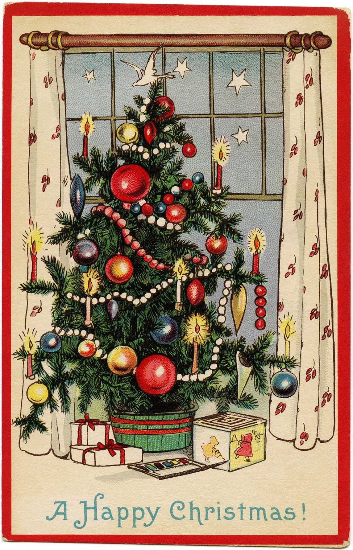 Free Freebie Printable Vintage Christmas Postcard, Christmas Tree - Free Printable Vintage Christmas Images