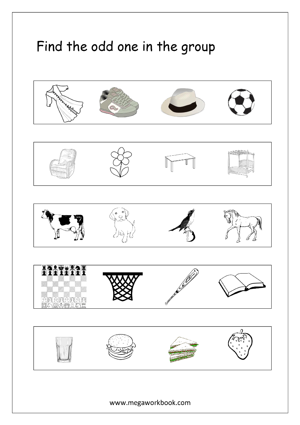 Free General Aptitude Worksheets - Odd One Out - Megaworkbook - Free Printable Worksheets For Kids Science