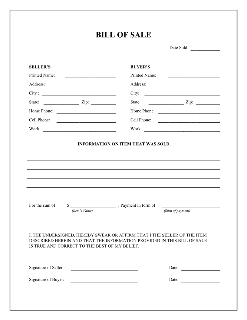 Free General Bill Of Sale Form - Download Pdf | Word - Free Printable Generic Bill Of Sale