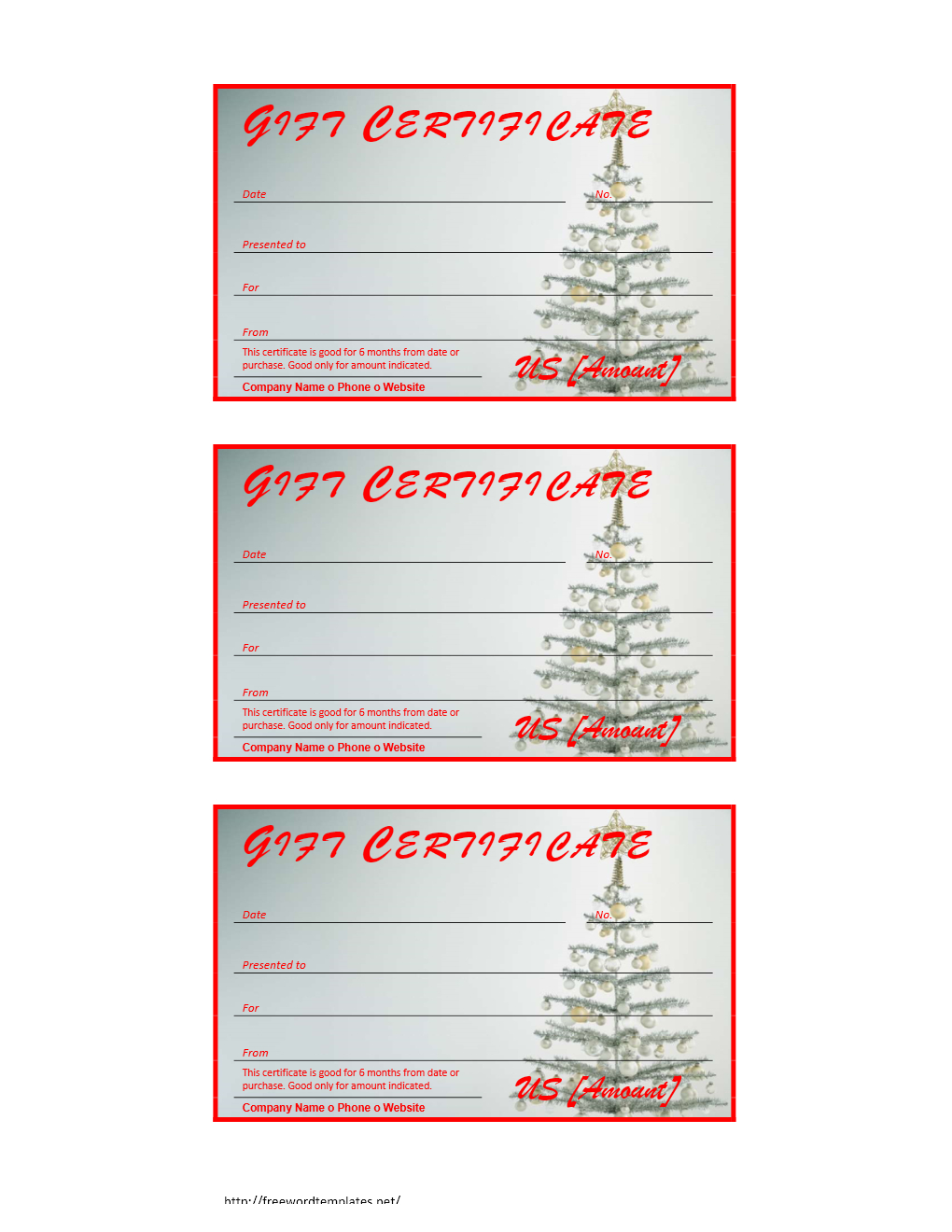 Free Gift Certificate Archives | Freewordtemplates - Free Printable Xmas Gift Certificates