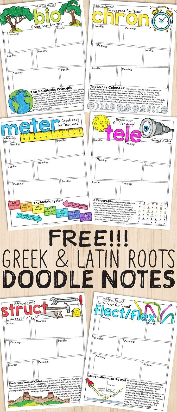 Free Greek And Latin Roots Sketch Notes   Literacy Teaching - Free Printable Greek And Latin Roots