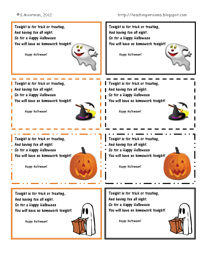 Free Halloween Homework Passes (So You Don't Give The Kids Even More - Free Printable Halloween Homework Pass