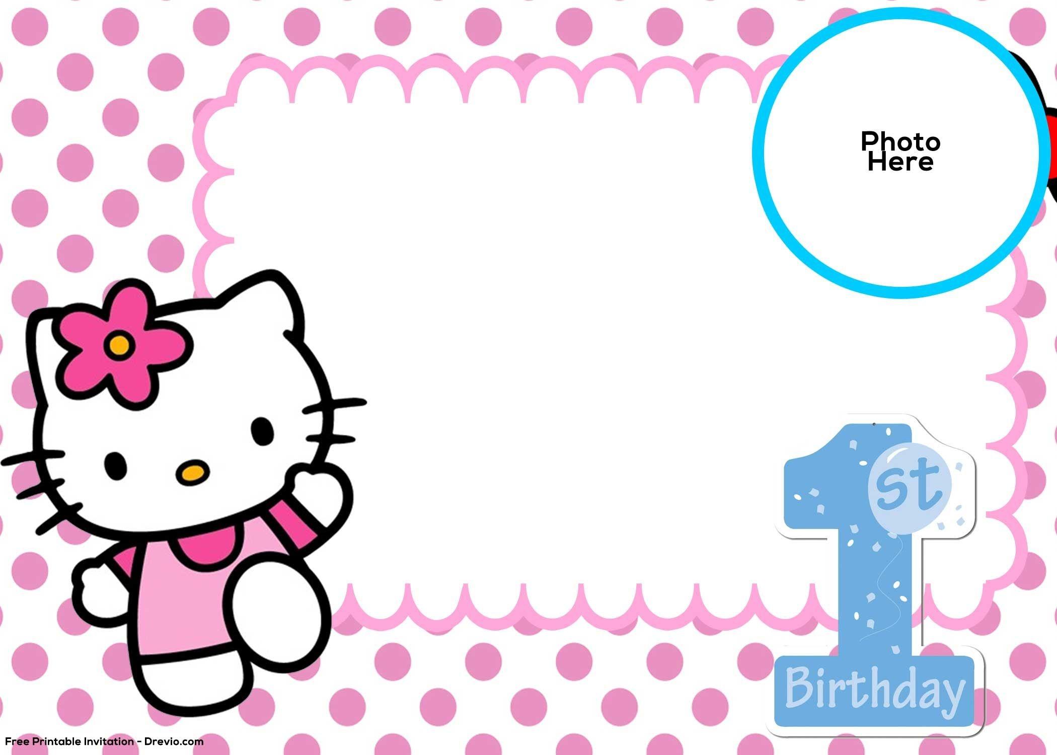 Free Hello Kitty 1St Birthday Invitation | Birthday Invitation - Hello Kitty Free Printable Invitations For Birthday
