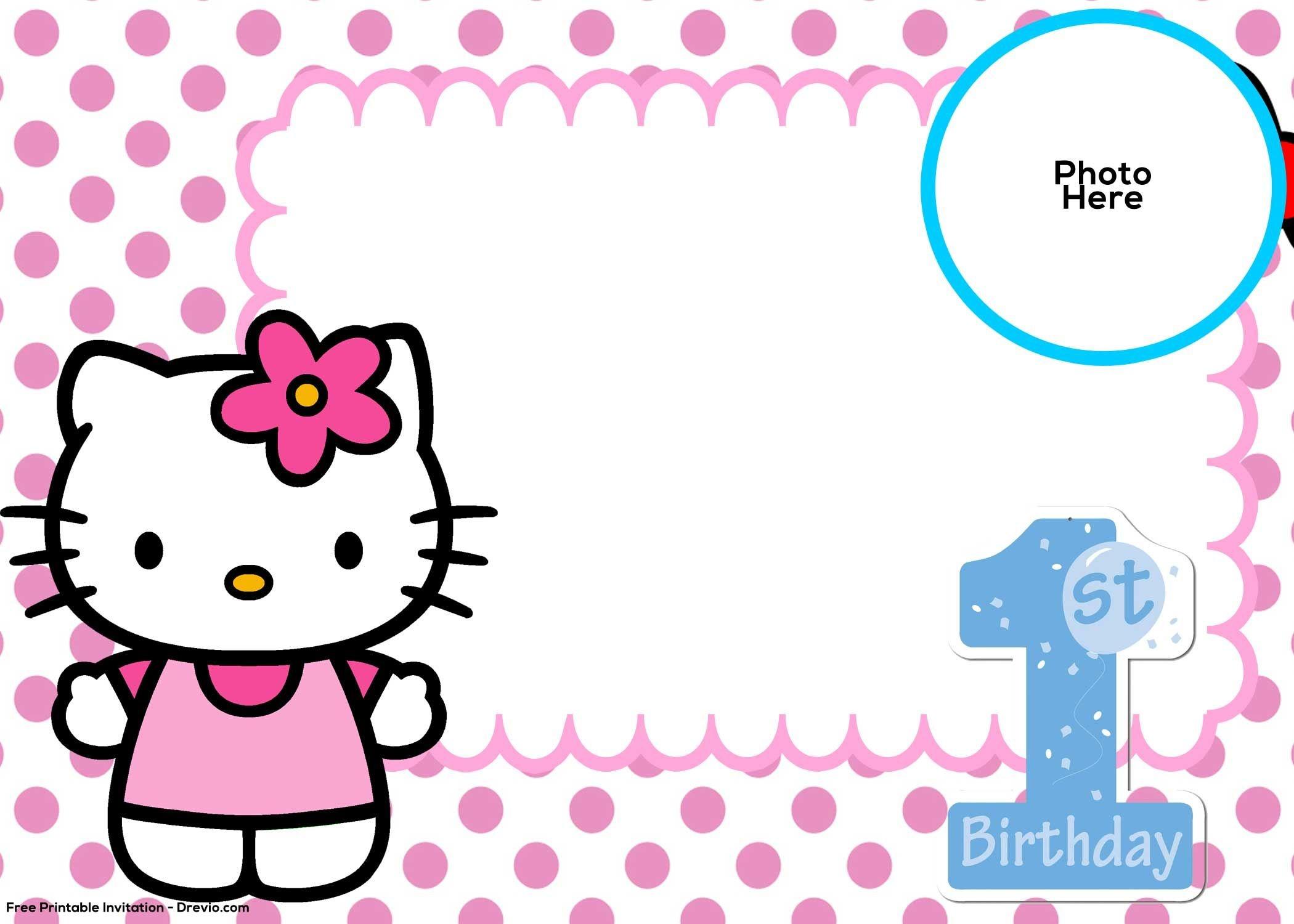 Free Hello Kitty 1St Birthday Invitation Template | Hello Kitty - Hello Kitty Free Printable Invitations For Birthday