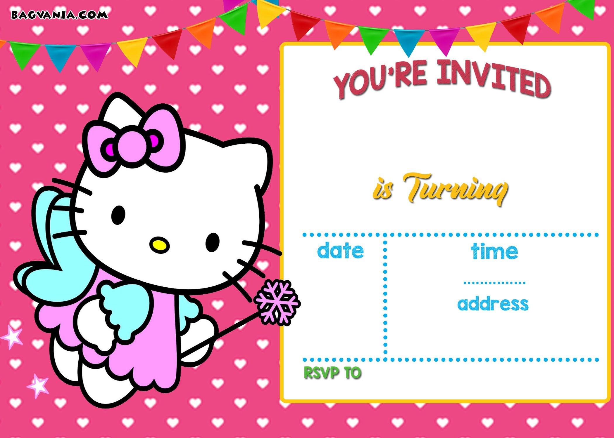 Free Hello Kitty Invitation Templates | Free Printable Birthday - Printable Invitations Free No Download