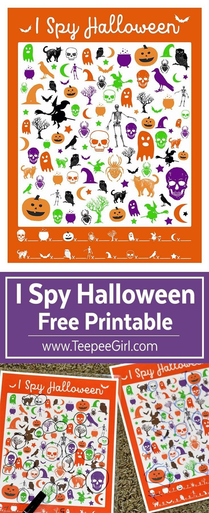 Free I Spy Halloween Game | Free Printables | Halloween Party - Free Printable Halloween Party Games