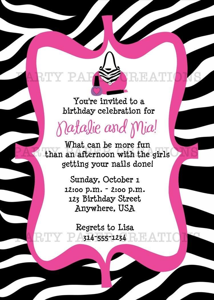 Free Invitations To Print    Birthday Invitation - Glamour Girl - Free Printable Zebra Print Birthday Invitations