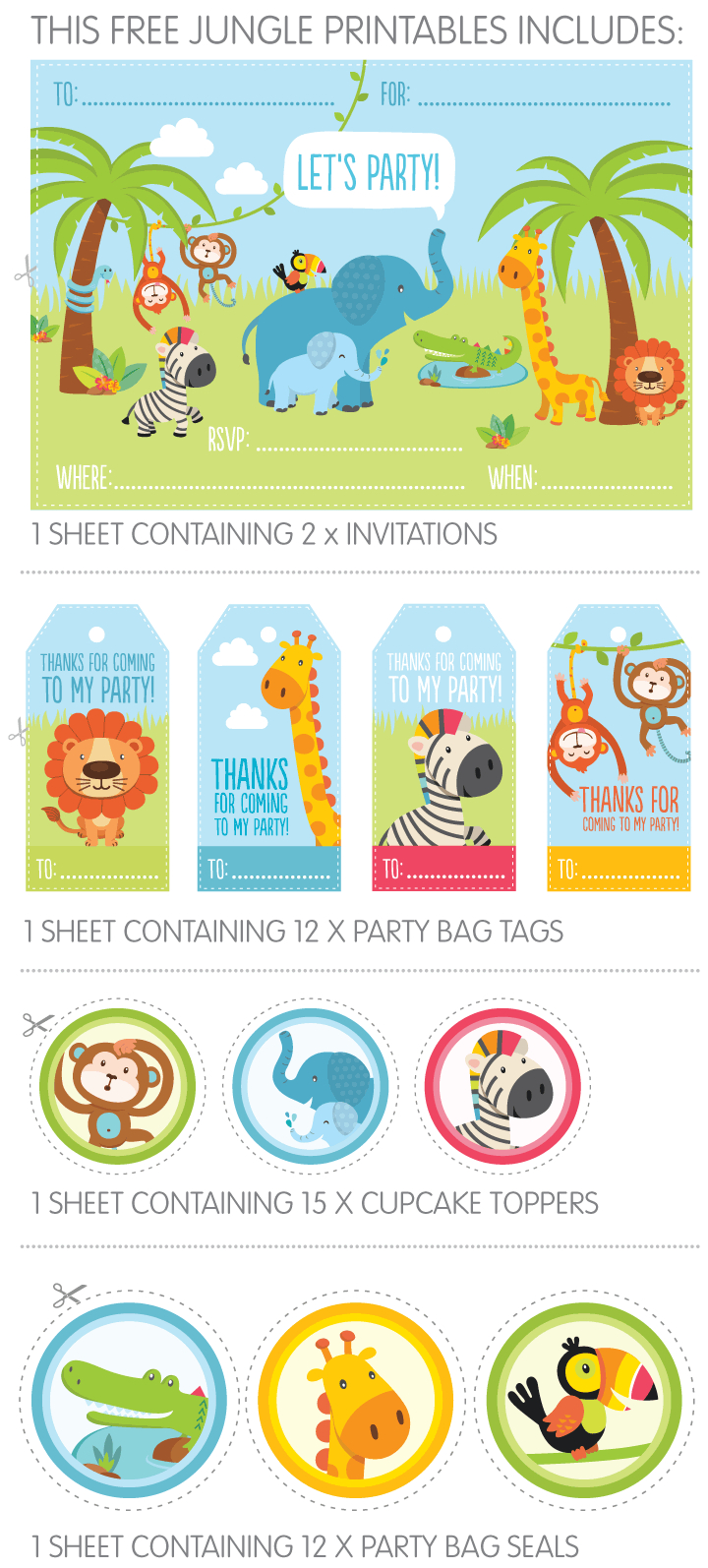 Free Jungle Party Invitation Printables   Give-Aways   Jungle Party - Jungle Theme Birthday Invitations Free Printable