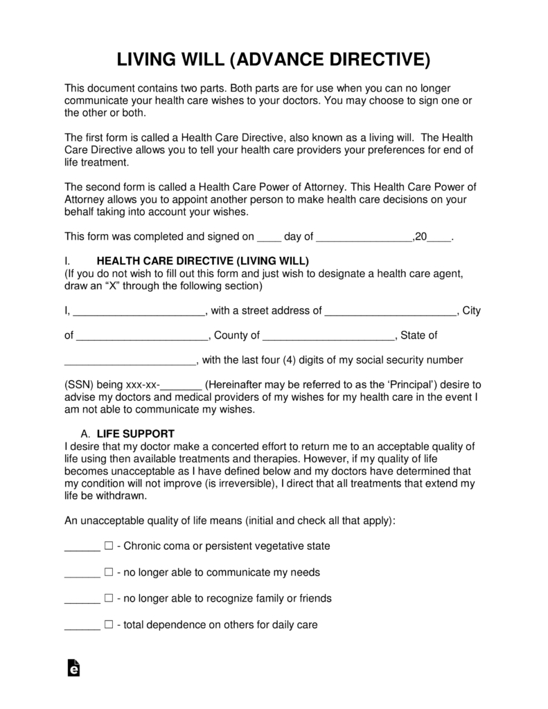 Free Living Will Forms (Advance Directive) | Medical Poa - Pdf - Free Printable Advance Directive Form