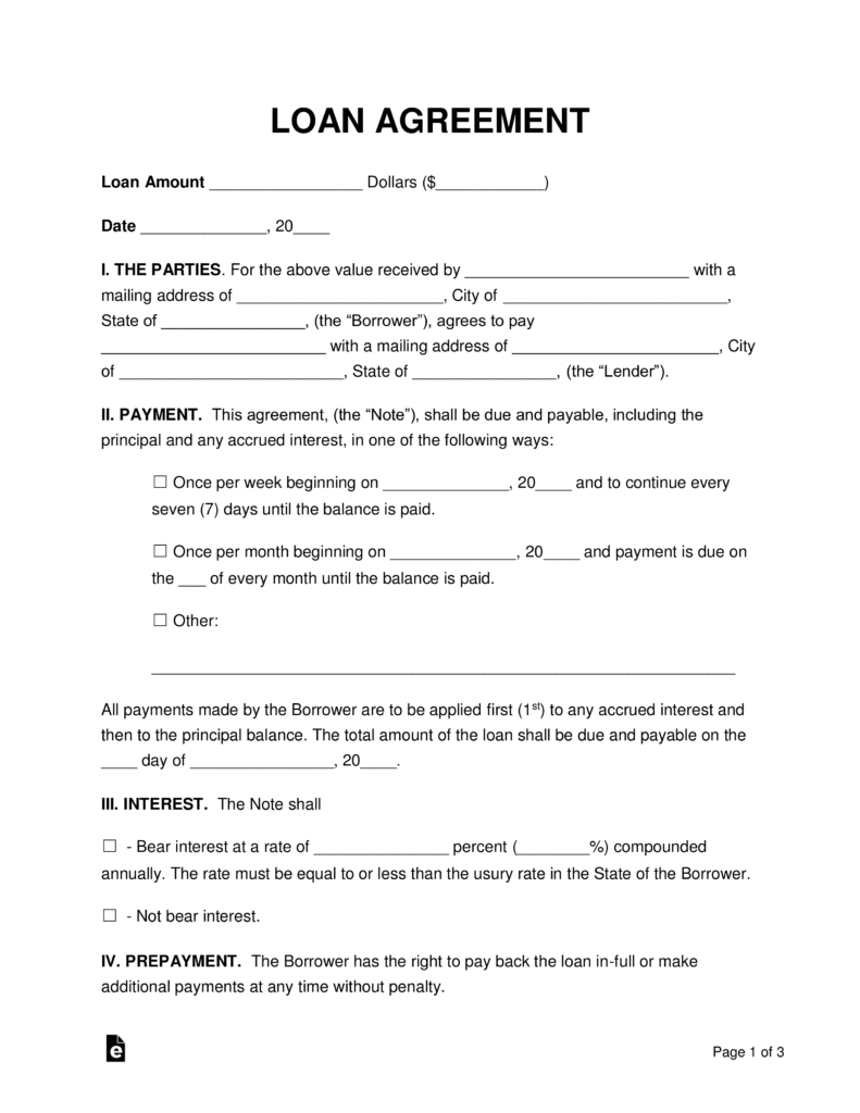 Free Loan Agreement Templates - Pdf | Word | Eforms – Free Fillable - Free Printable Loan Forms