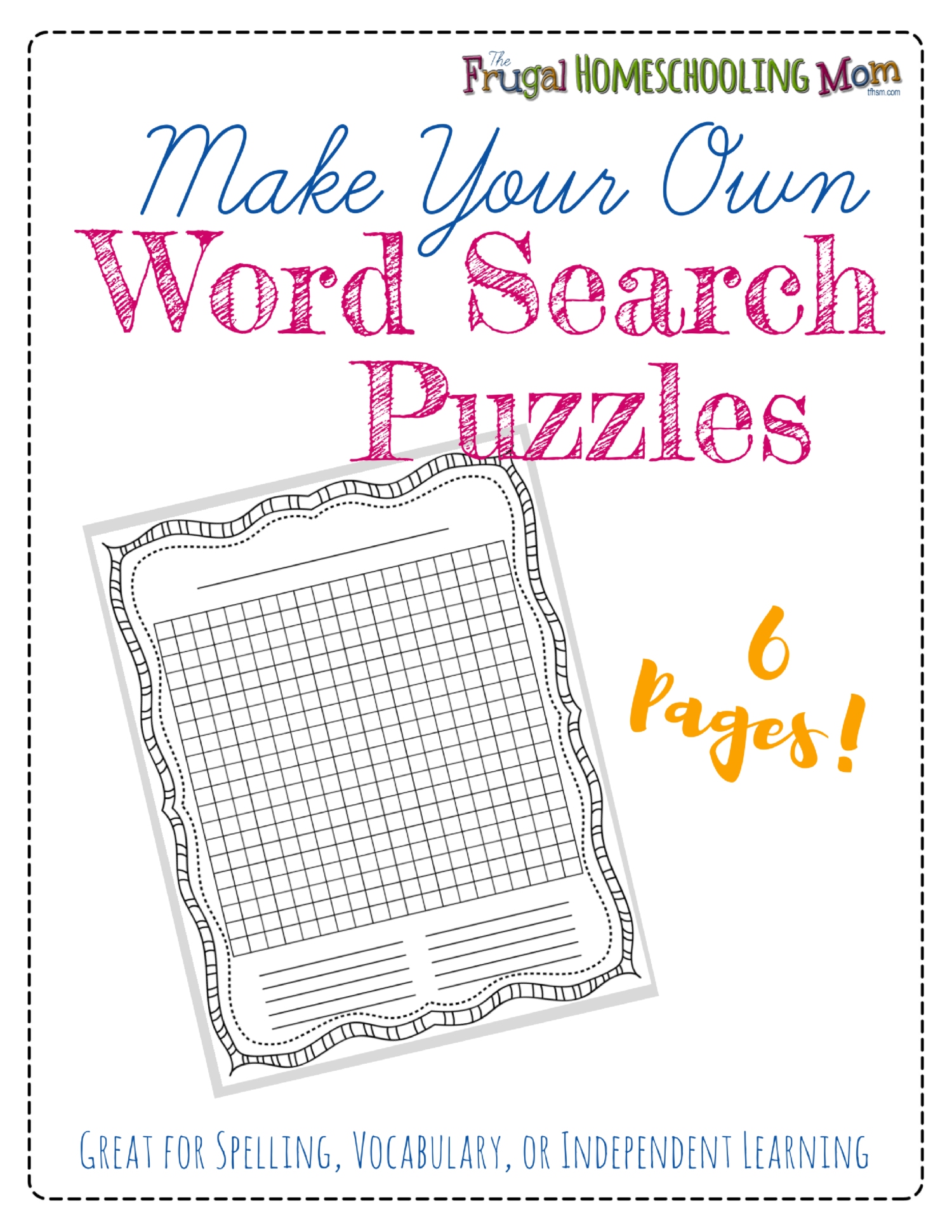 "Free ""make-Your-Own"" Printable Wordsearch Puzzles – The Frugal - Free Printable Make Your Own Word Search"