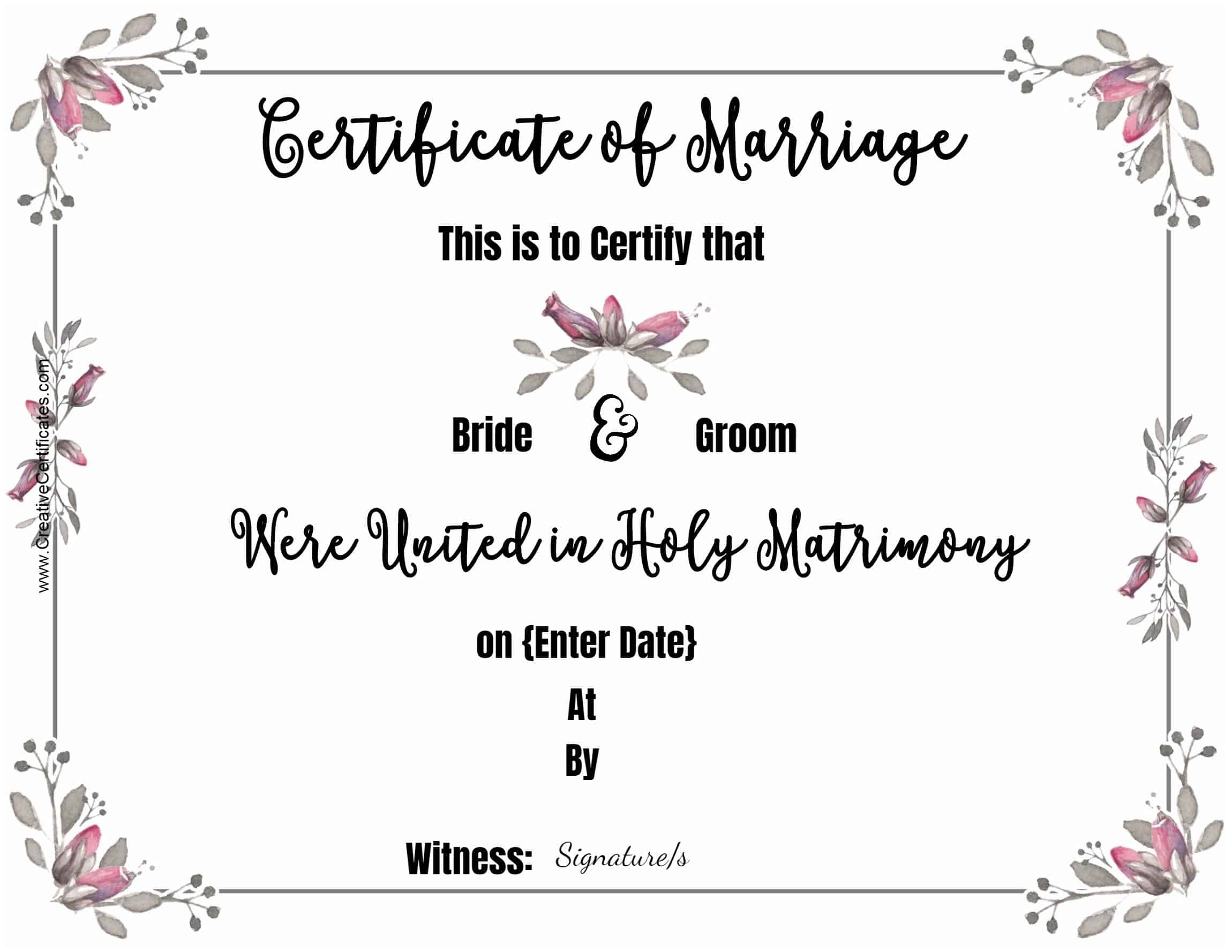 Free Marriage Certificate Template   Customize Online Then Print - Fake Marriage Certificate Printable Free