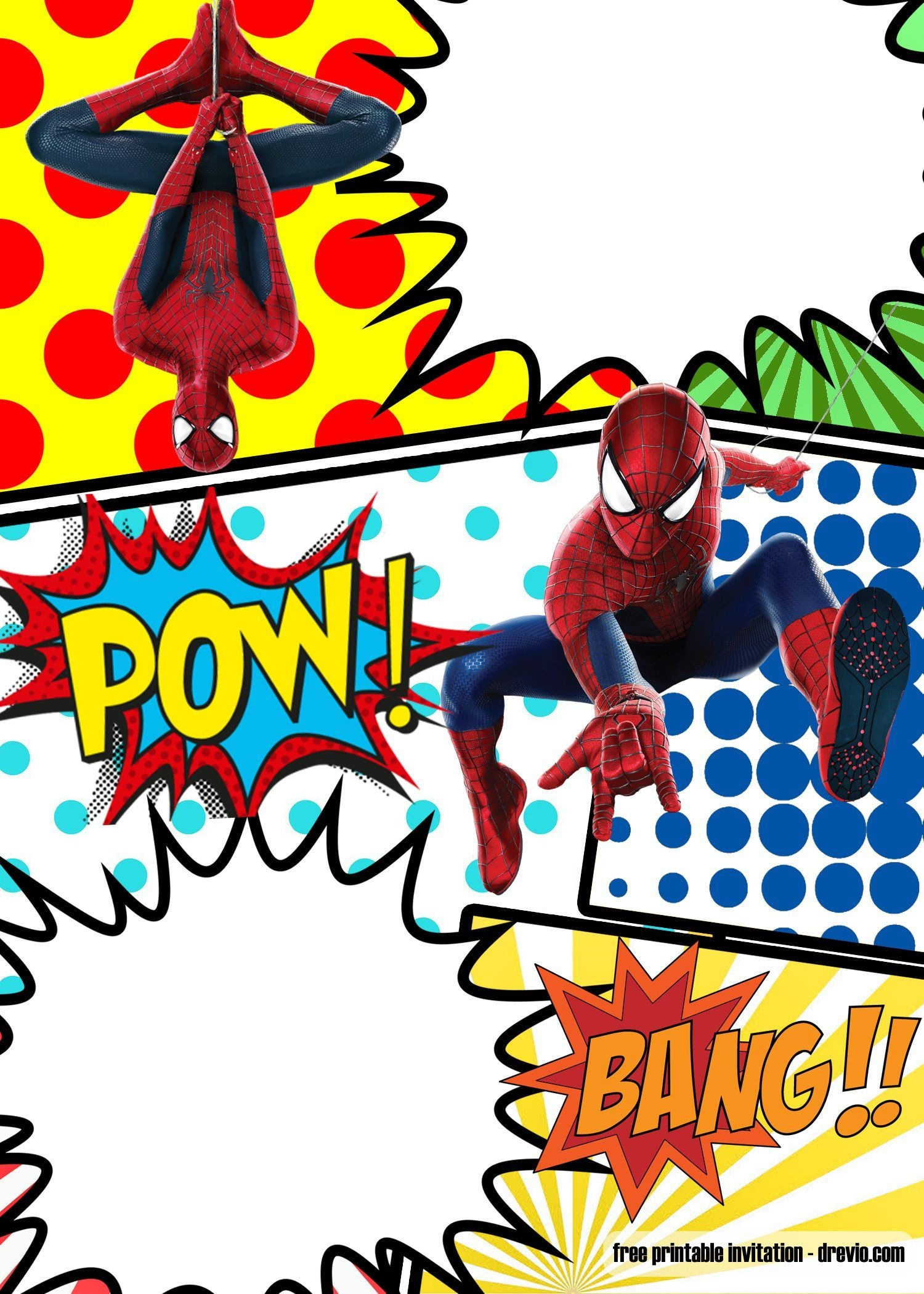 Free Marvel Spiderman Comic Style Invitation Template | Partying - Free Printable Superhero Birthday Invitation Templates