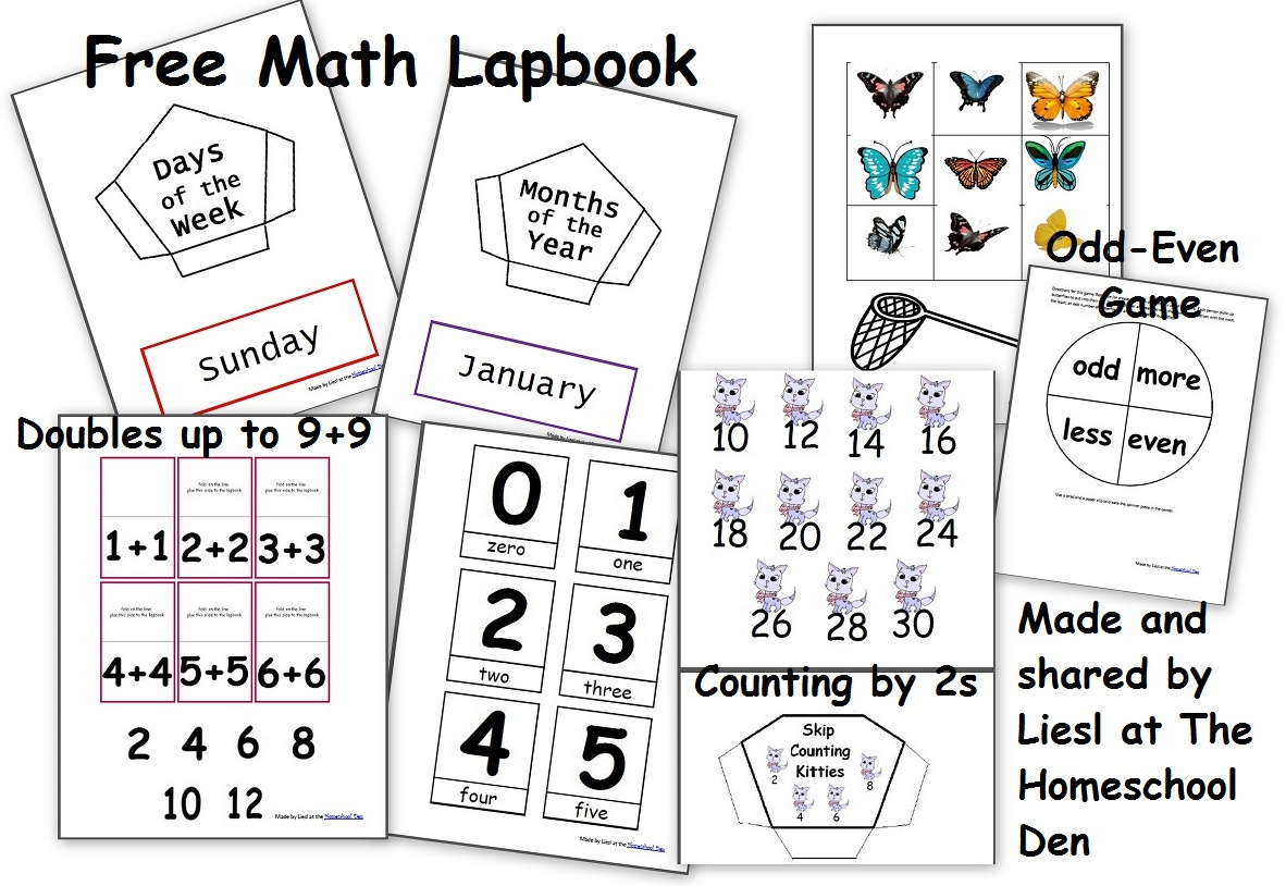 Free Math Lapbook (Prek, K, 1St Grade) - Homeschool Den - Free Printable Lapbook Templates