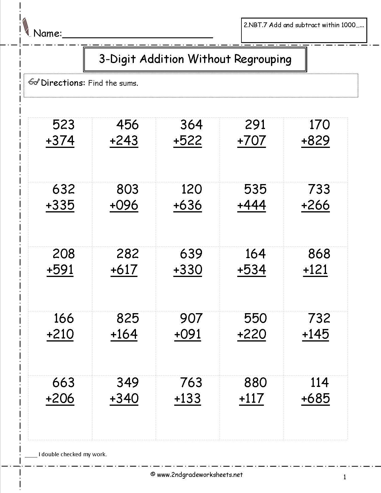 Free Math Worksheets And Printouts - Free Printable Second Grade Math Worksheets