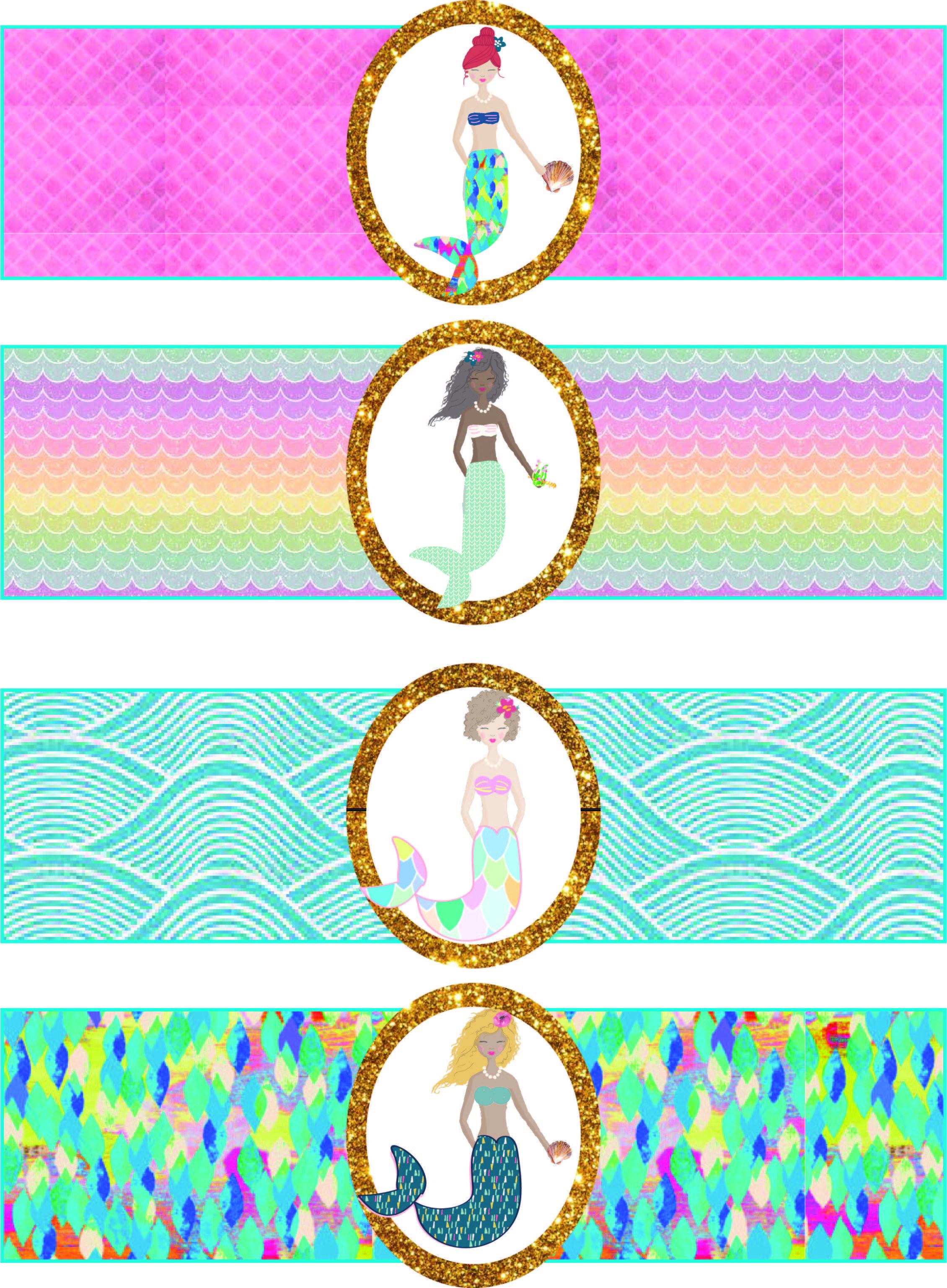 Free Mermaid Birthday Party Printables   Free Girls Party Printables - Free Printable Little Mermaid Water Bottle Labels