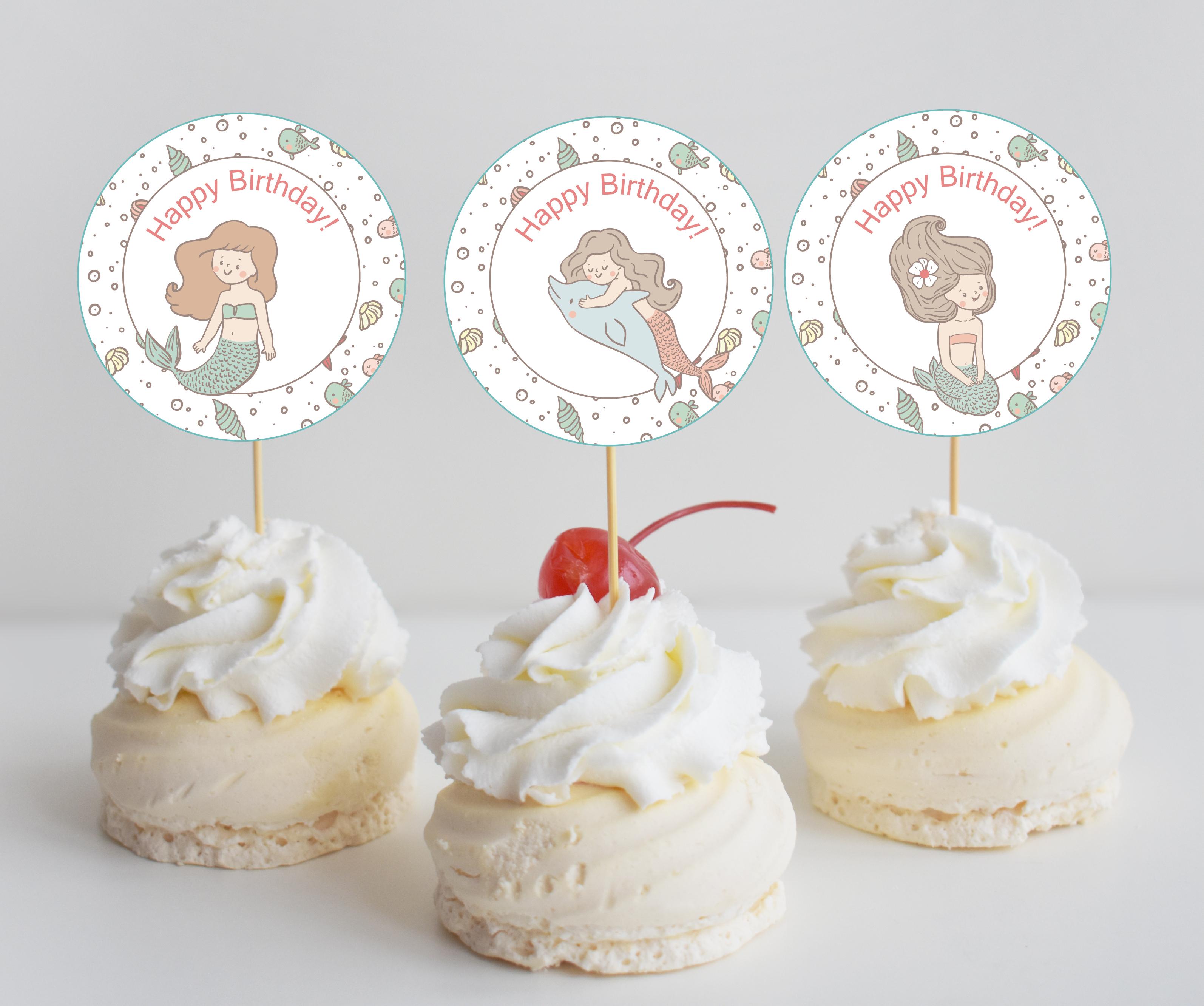 Free Mermaid Birthday Party Printables - Mermaid Party Bundle - Free Printable Mermaid Cupcake Toppers