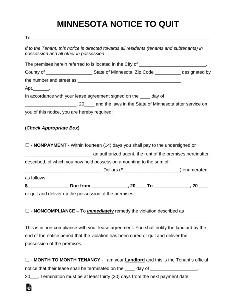 Free Minnesota Eviction Notice Forms   Process And Laws - Pdf   Word - Free Printable Eviction Notice