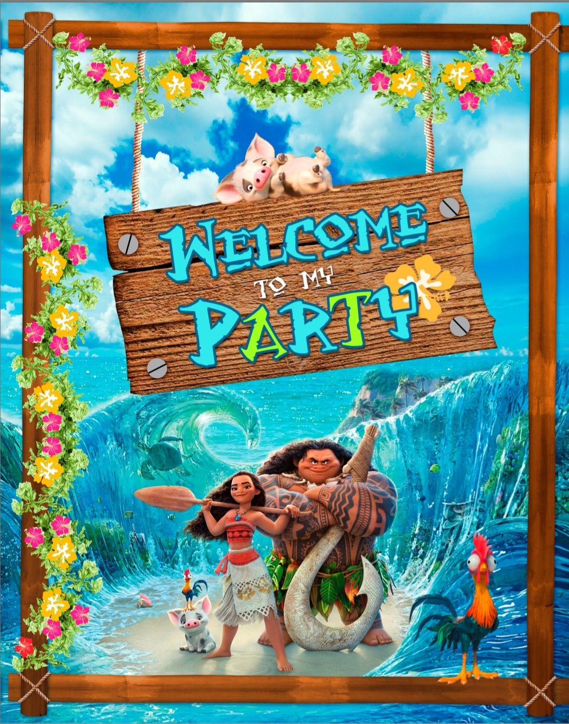 Free Moana - Welcome To My Party Banner. | Ava's 2Nd Party In 2019 - Free Printable Moana Banner