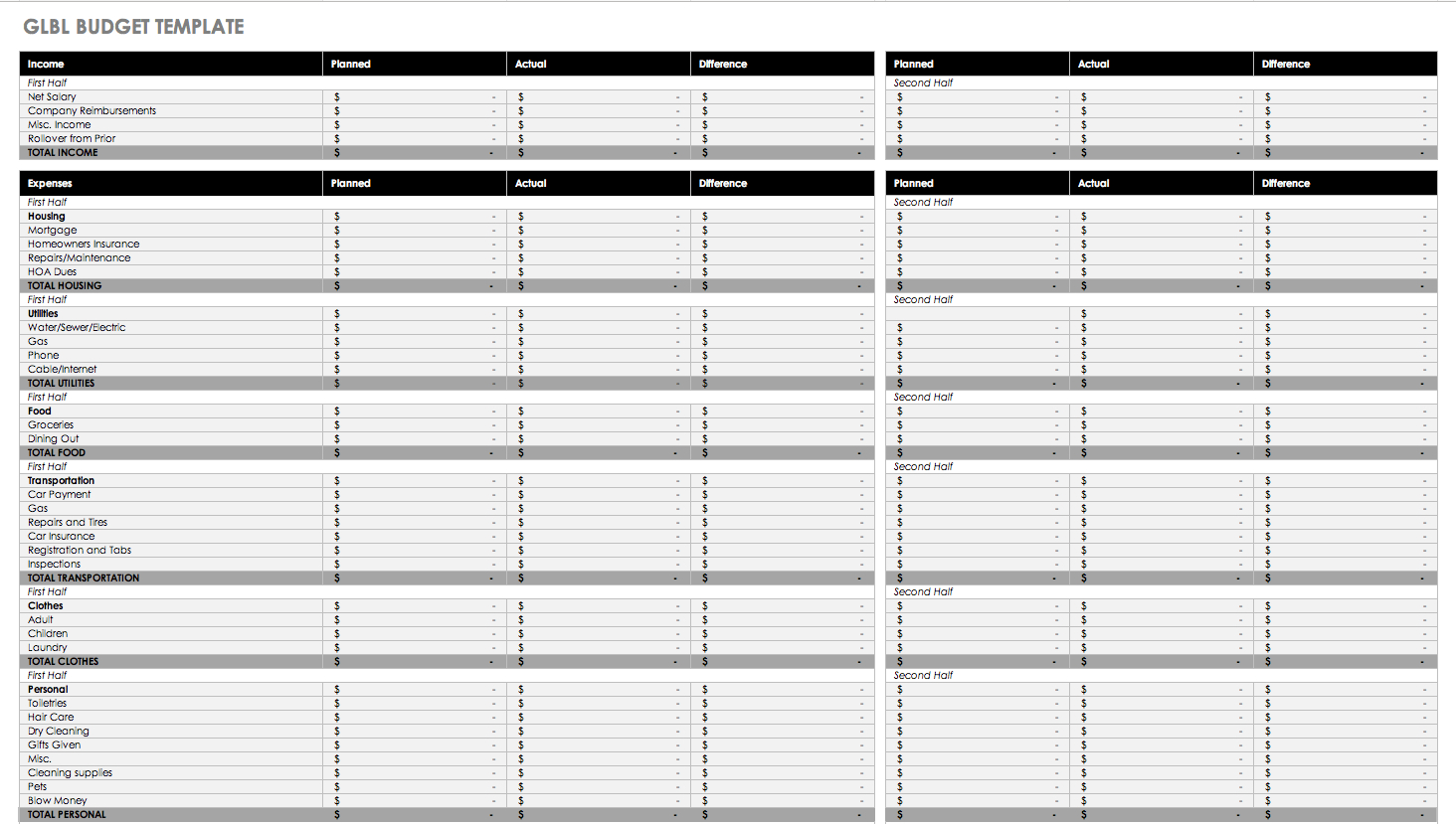 Free Monthly Budget Templates   Smartsheet - Free Printable Monthly Budget Worksheets