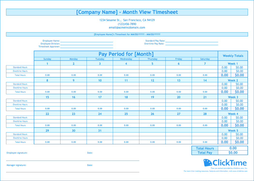 Free Monthly Timesheet Template | Clicktime - Free Printable Weekly Time Sheets