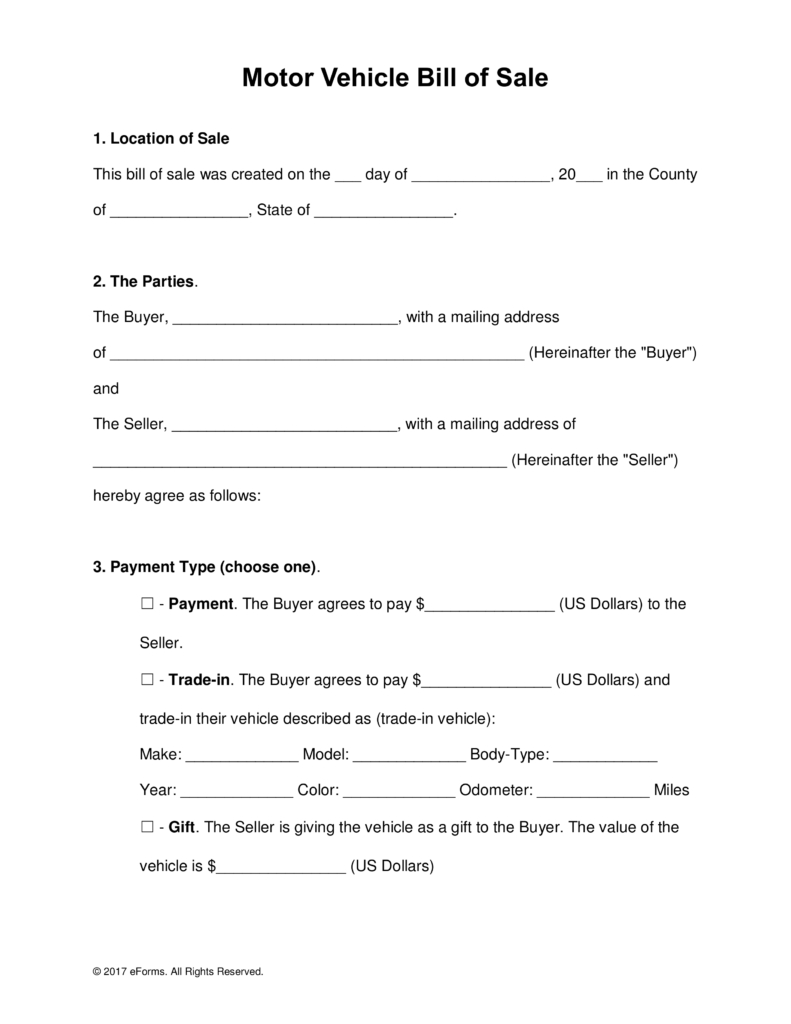 Free Motor Vehicle (Dmv) Bill Of Sale Form - Word   Pdf   Eforms - Free Printable Bill Of Sale For Car