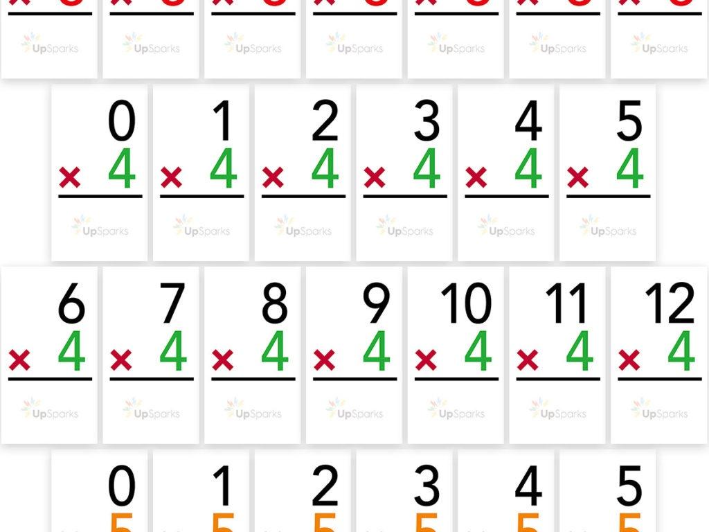 Free Multiplication Flash Cards Printable Sheets From Upsparks - Free Printable Flash Cards