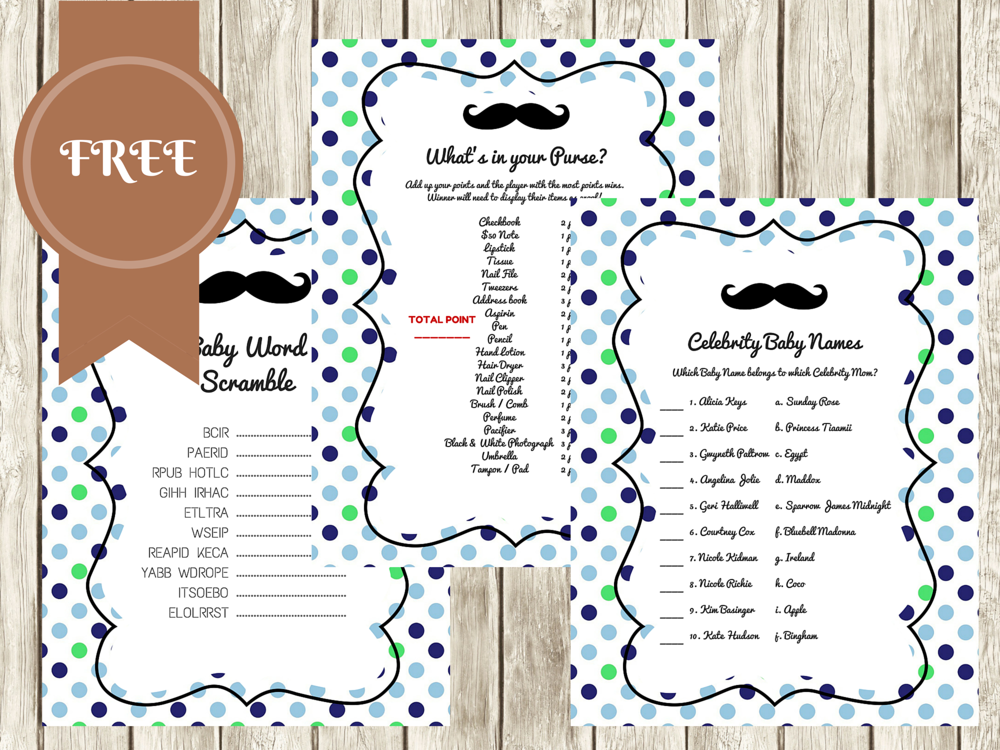 Free Mustache Baby Shower Games - Baby Shower Ideas - Themes - Games - Free Printable Baby Shower Games What's In Your Purse
