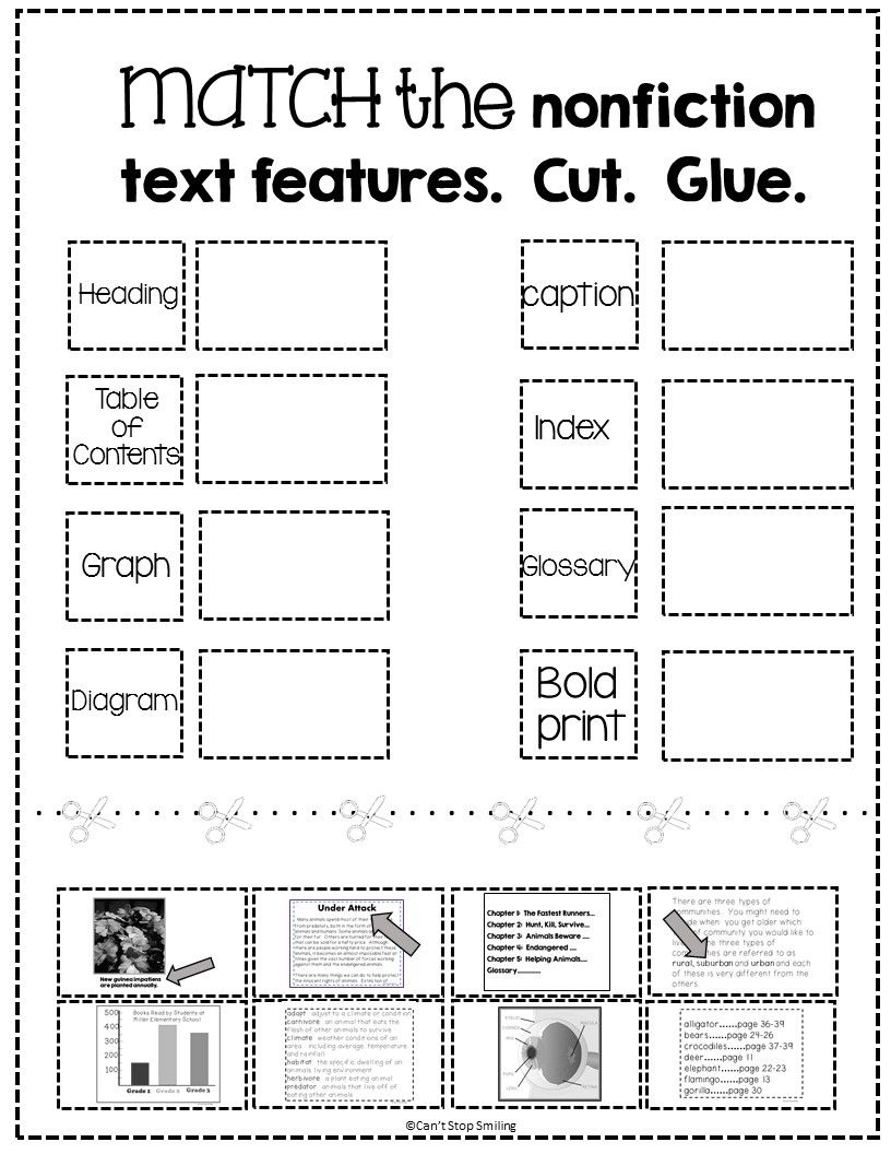 Free Nonfiction Text Features Matching Activity   Tpt Free Lessons - Free Library Skills Printable Worksheets