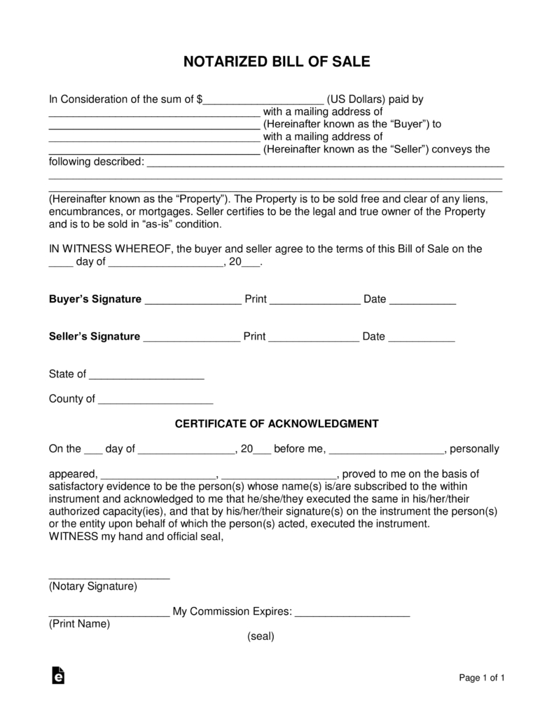 Free Notarized Bill Of Sale Form - Word | Pdf | Eforms – Free - Free Printable Mobile Home Bill Of Sale