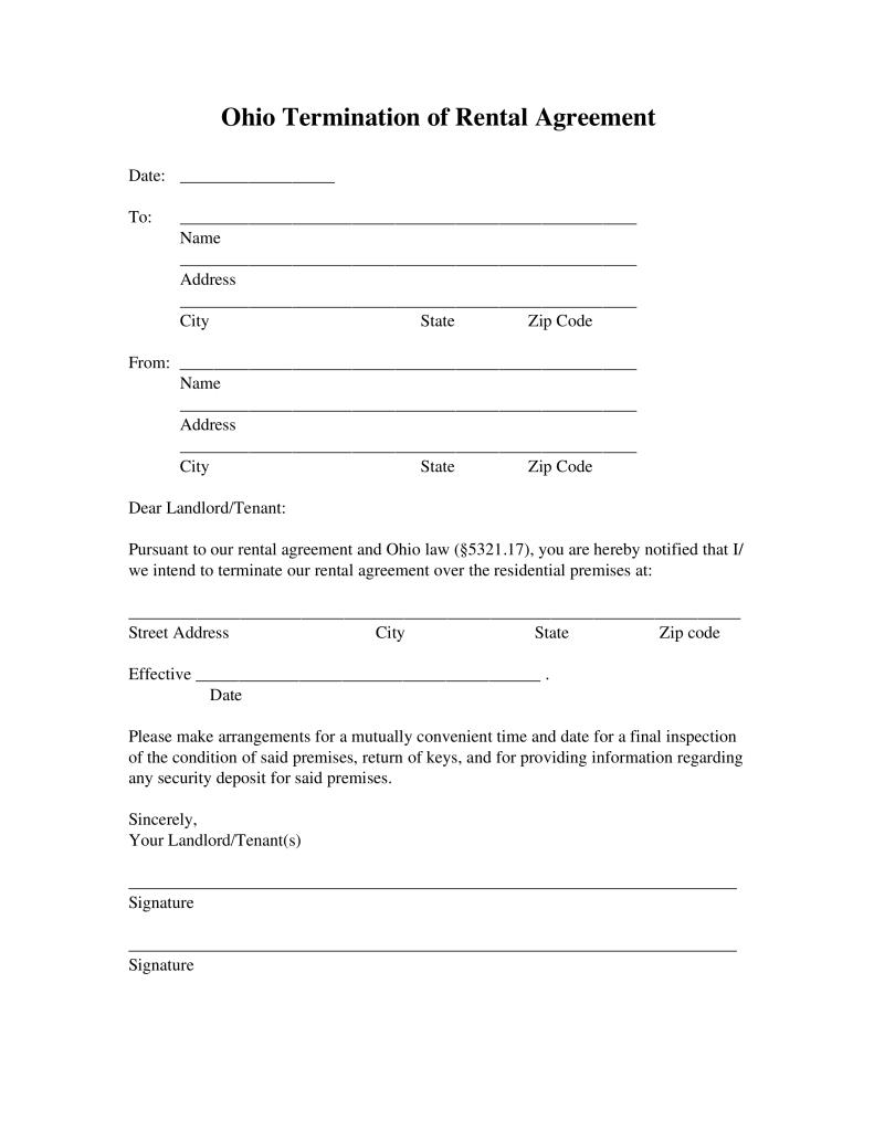 Free Ohio Lease Termination Letter Form | 30-Day Notice - Pdf - Free Printable Eviction Notice Ohio