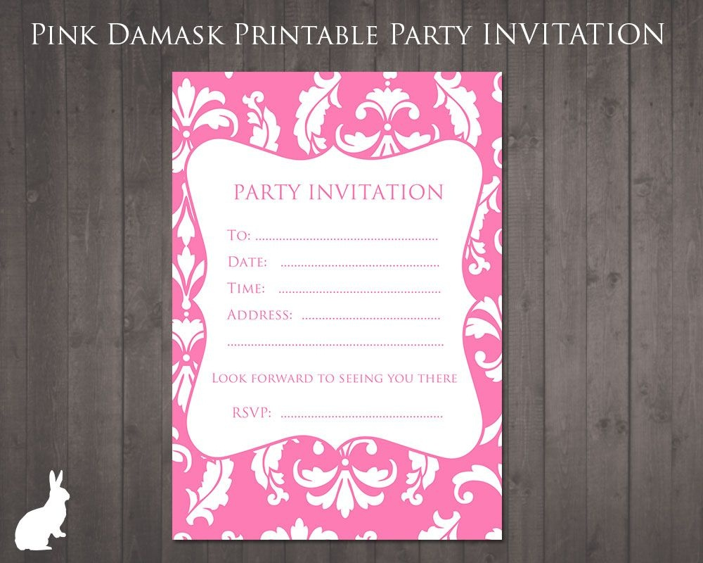 Free Party Invitation Pink Damask | Party Ideas | 13Th Birthday - 13Th Birthday Party Invitations Printable Free