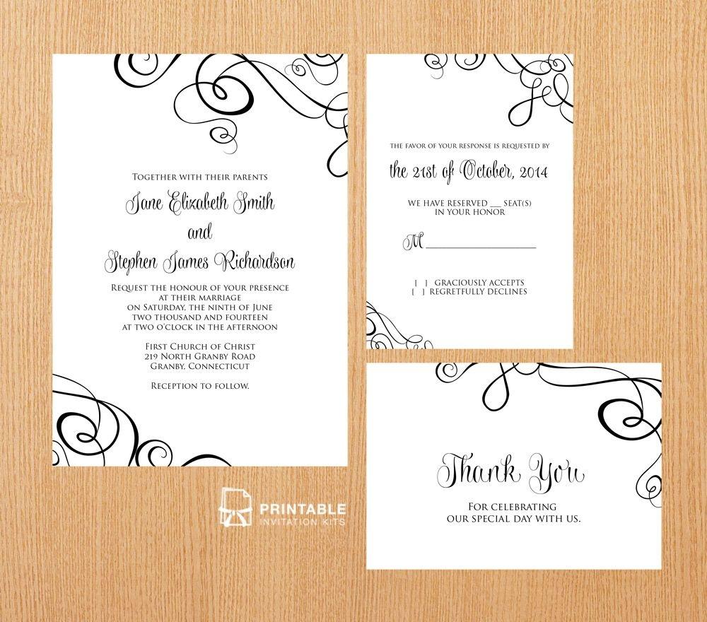 Free Pdf Templates. Easy To Edit And Print At Home. Elegant Ribbon - Wedding Invitation Cards Printable Free