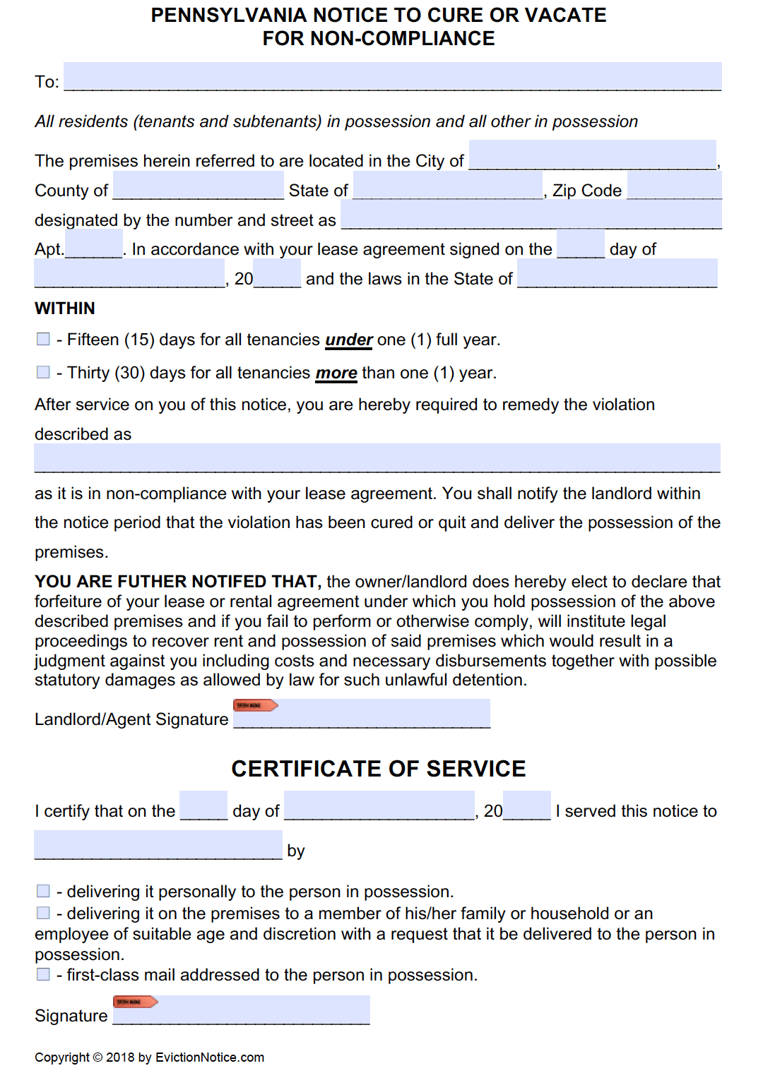 Free Pennsylvania 15/30 Day Notice To Comply Or Quit | Pdf - Free Printable Eviction Notice Pa