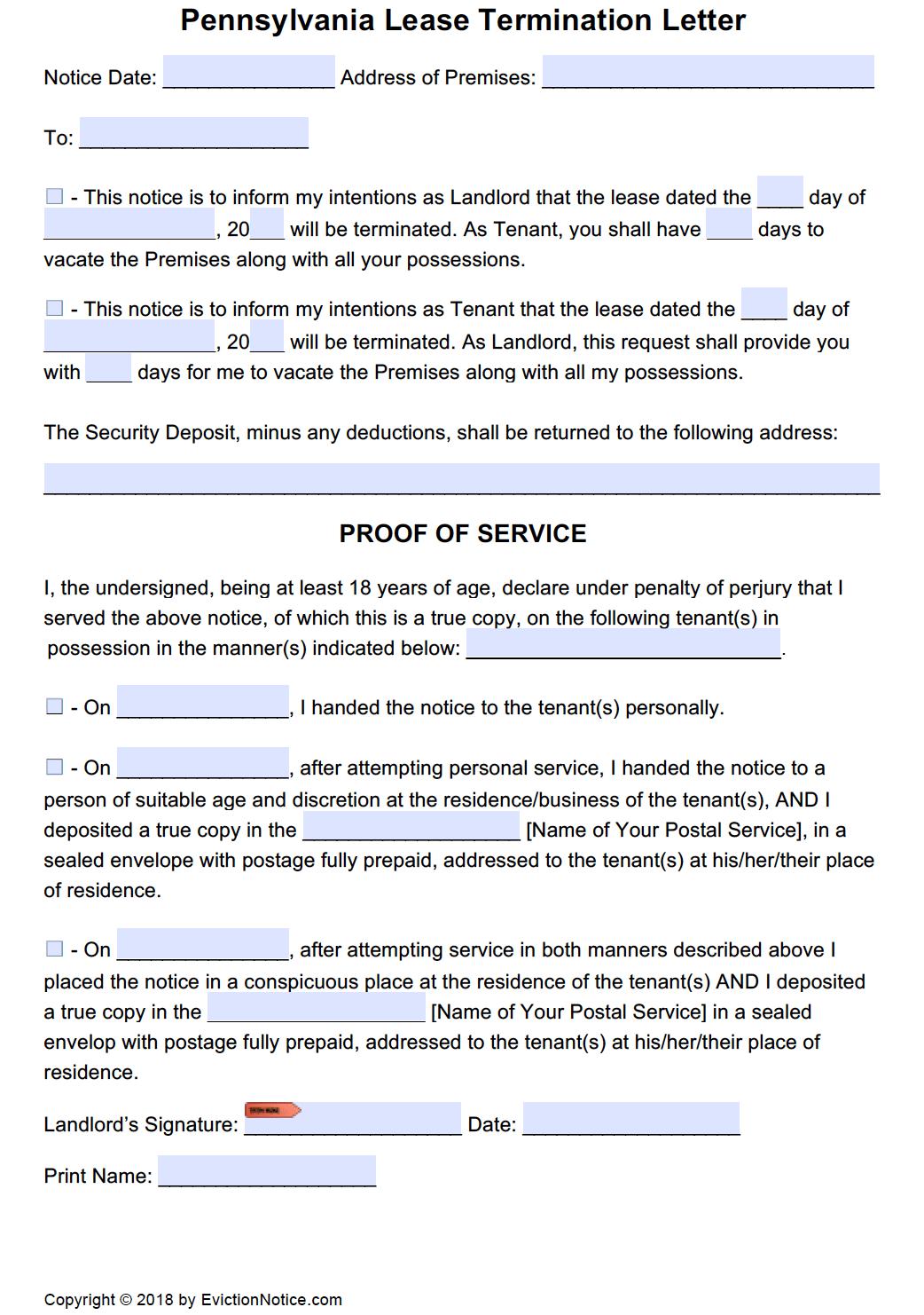Free Pennsylvania Eviction Notice Templates | Pa Eviction Process - Free Printable Eviction Notice Pa