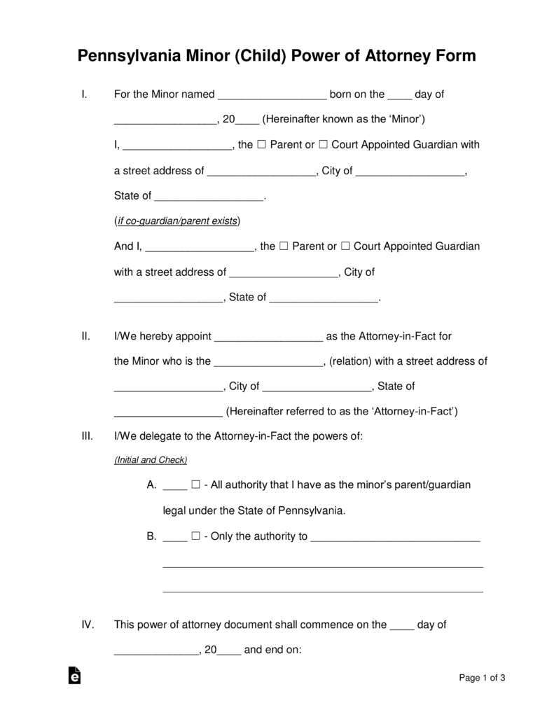 Free Pennsylvania Guardian Of Minor Power Of Attorney Form - Word - Free Printable Guardianship Forms