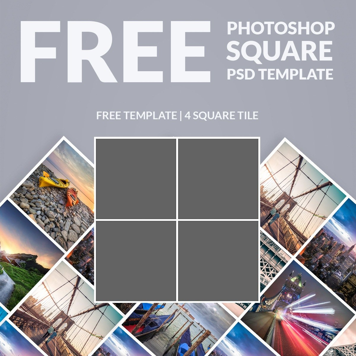 Free Photoshop Template: Photo Collage Square - Download Now - Free Printable Photo Collage Template