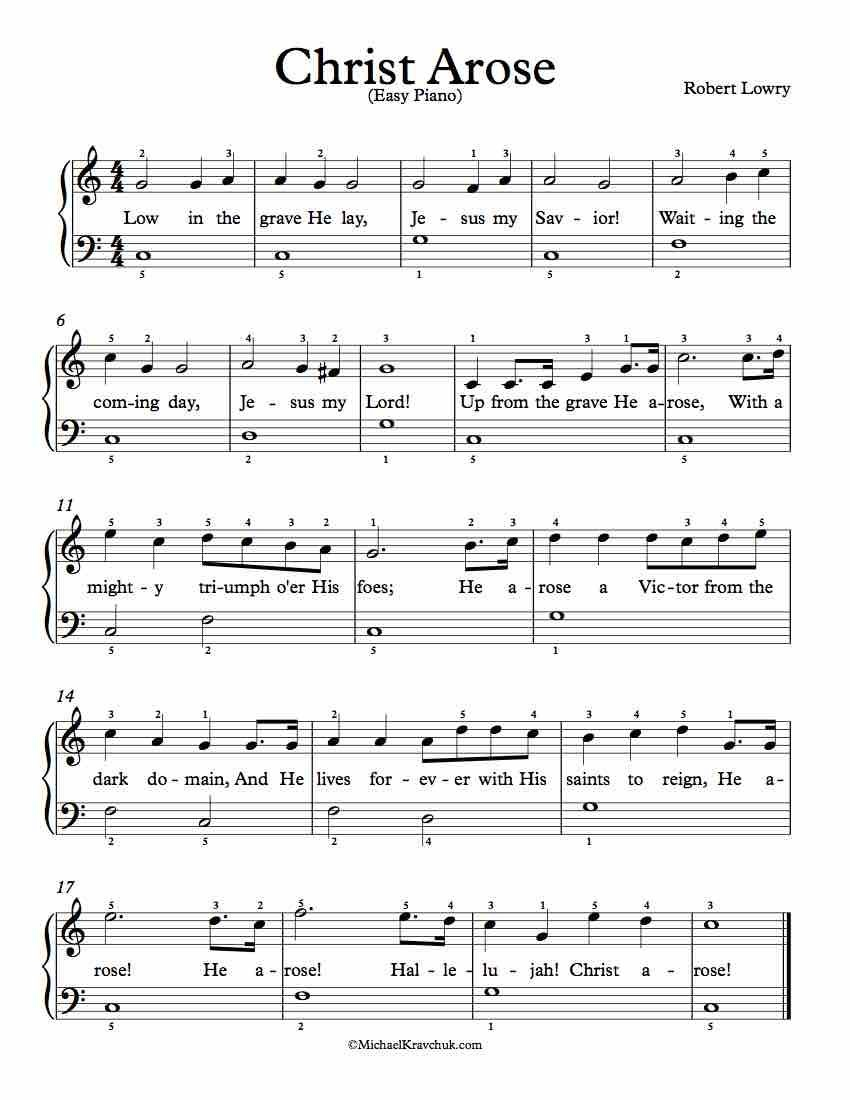 Free Piano Arrangement Sheet Music – Christ Arose (Up From The Grave - Free Printable Gospel Sheet Music For Piano
