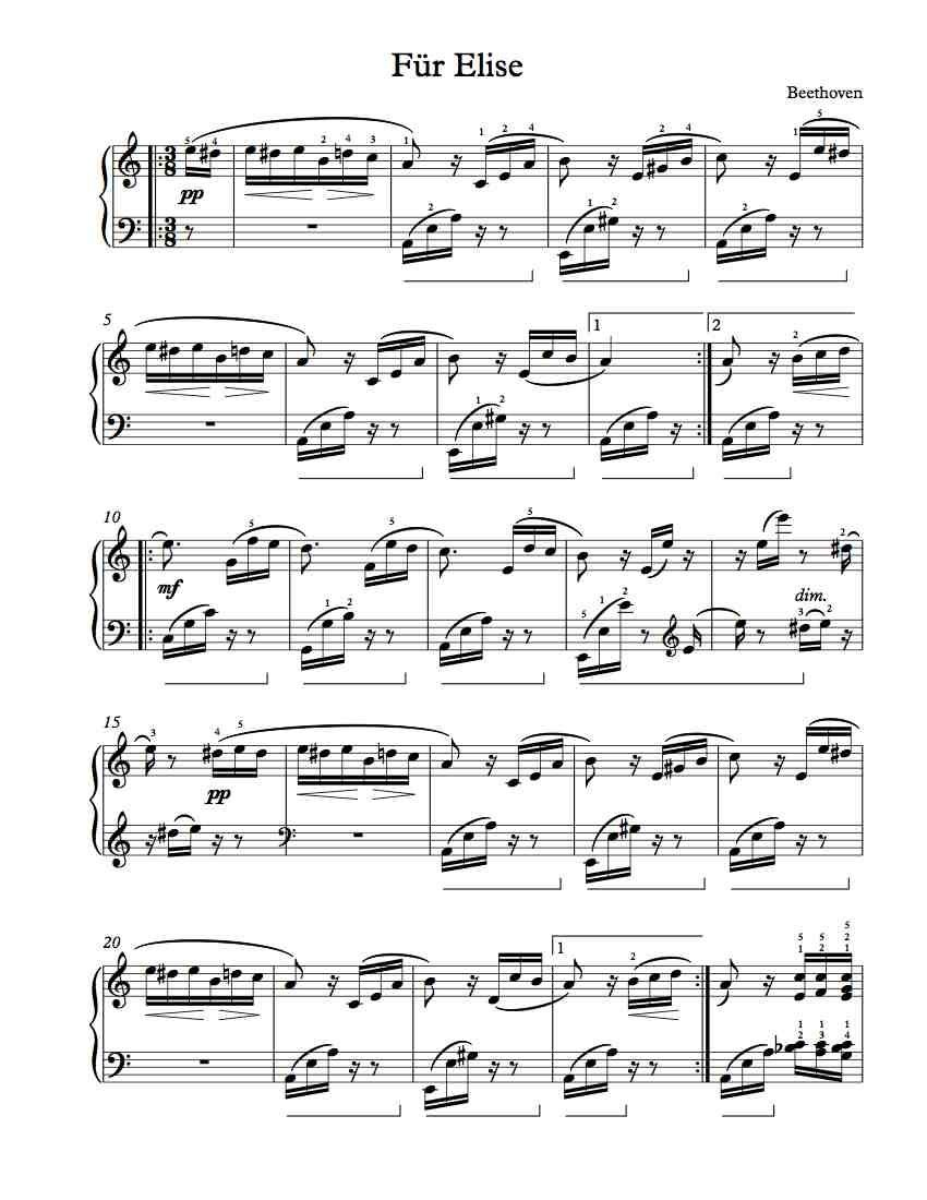Free Piano Sheet Music – Für Elise   Free Sheet Music   Piano Sheet - Free Printable Piano Sheet Music Fur Elise