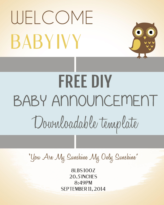 Free Pregnancy Announcement Templates - Tutlin.psstech.co - Free Printable Baby Announcement Templates